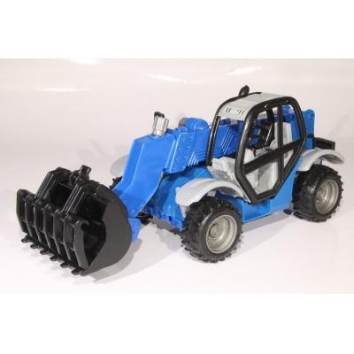 Model Traktor se sběračem - modrý - 1:27
