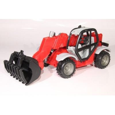 Model Traktor se sběračem - červený - 1:27