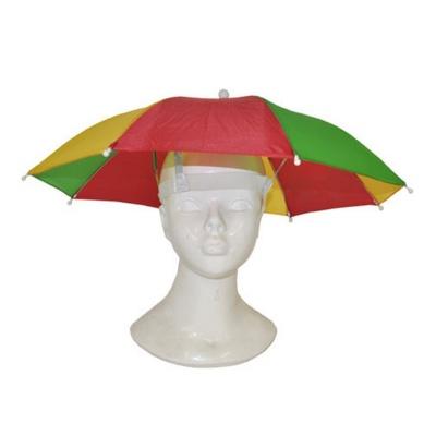 Deštník na hlavu - žlutozelenočervený