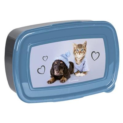 Svačinový box krabička na oběd modrý Pes a kočka