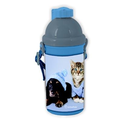 Plastová láhev 500ml  modrá Pes a kočka