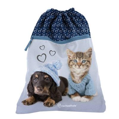 Školní pytel vak sáček s přední kapsou modrý Pes a kočka