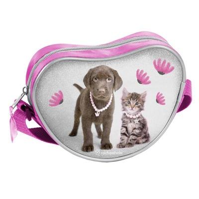 Kabelka srdce taška přes rameno růžová Pes a kočka