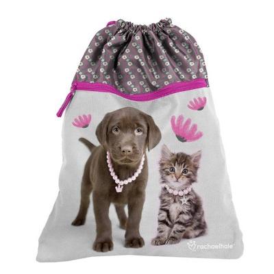 Batoh pytel vak s přední kapsou růžový Pes a kočka