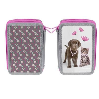 Třípatrové pouzdro penál růžový Pes a kočka