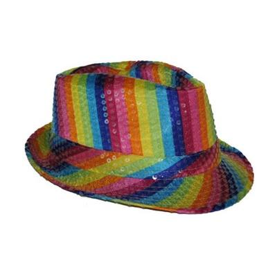 Duhový klobouk s flitry