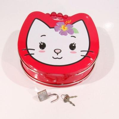 Kovová kabelka na zámek kočka - červená