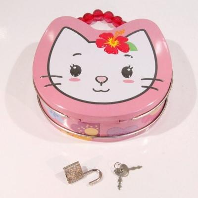 Kovová kabelka na zámek kočka - růžová