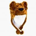 Dětská čepice s bambulkami - medvěd
