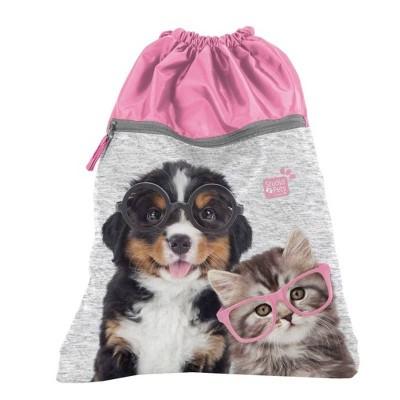 Školní pytel vak sáček s přední kapsou růžový Pes a kočka