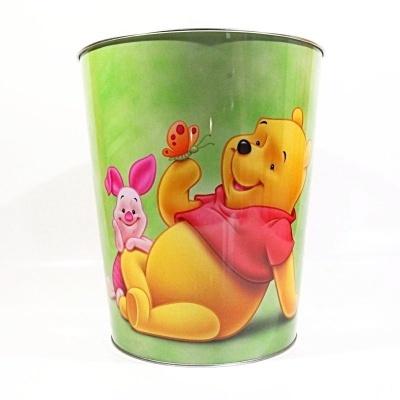 Plechový koš - Medvídek Pú zelený