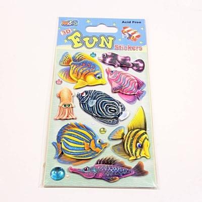 Samolepky 3D rybky - třpytky