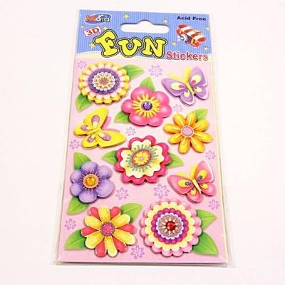 Samolepky 3D květiny - třpytky