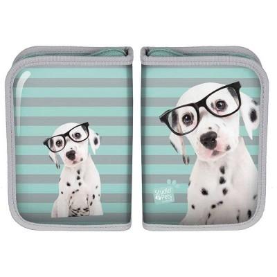 Školní pouzdro penál Pes s brýlemi - s chlopněmi a vybavením