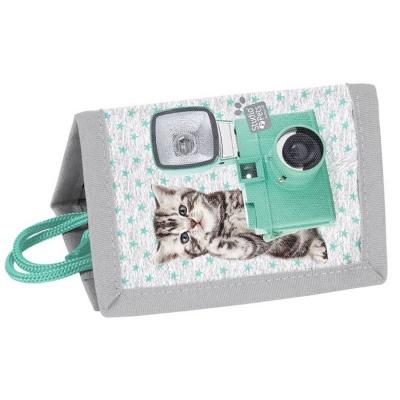 Dětská textilní peněženka zelená Kočka s foťákem