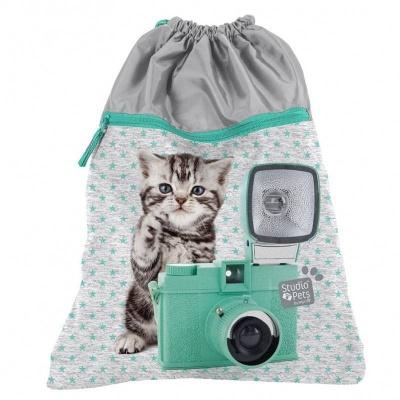 Batoh pytel vak s přední kapsou Kočka s foťákem