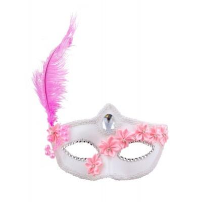 Škraboška maska bílá růžová
