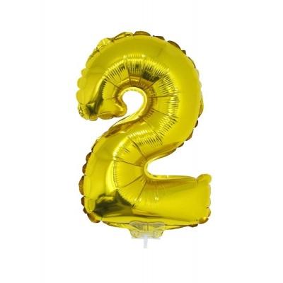 Foliový balónek číslo 2 zlatý 41cm + tyčka