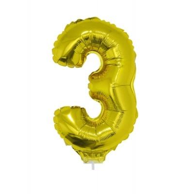 Foliový balónek číslo 3 zlatý 41cm + tyčka
