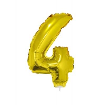 Foliový balónek číslo 4 zlatý 41cm + tyčka