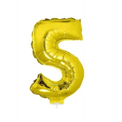 Foliový balónek číslo 5 zlatý 41cm + tyčka