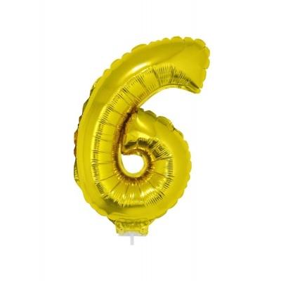 Foliový balónek číslo 6 zlatý 41cm + tyčka