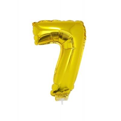 Foliový balónek číslo 7 zlatý 41cm + tyčka