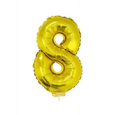Foliový balónek číslo 8 zlatý 41cm + tyčka