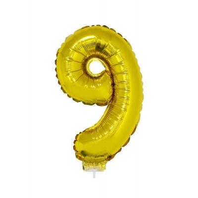 Foliový balónek číslo 9 zlatý 41cm + tyčka