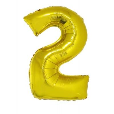 Foliový balónek číslo 2 zlatý 100 cm