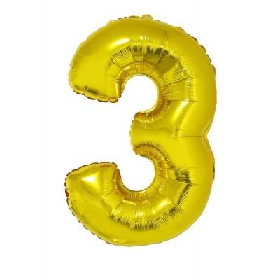 Foliový balónek číslo 3 zlatý 100 cm