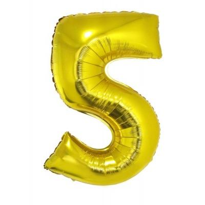 Foliový balónek číslo 5 zlatý 100 cm