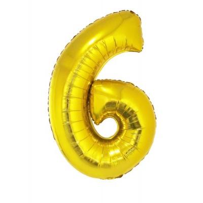 Foliový balónek číslo 6 zlatý 100 cm