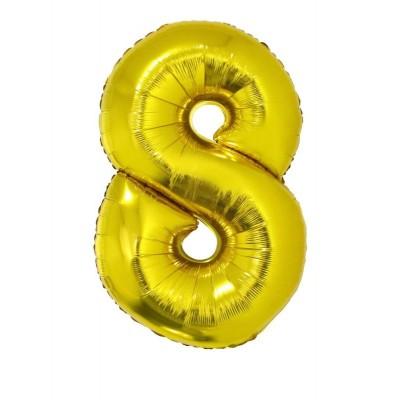 Foliový balónek číslo 8 - zlatý 102 cm