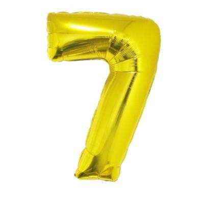 Foliový balónek číslo 7 - zlatý 102 cm