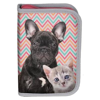 Školní pouzdro penál pes a kočka - s chlopněmi a vybavením