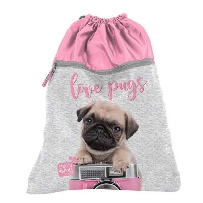Školní pytel vak sáček s přední kapsou růžový Pes mops