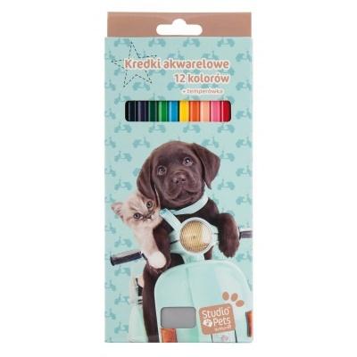 Pastelky s ořezávátkem 12 barev Pes a kočka