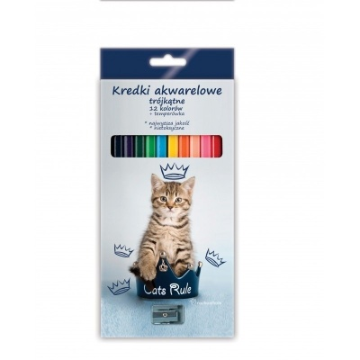 Pastelky s ořezávátkem 12 barev Kočka s korunkou