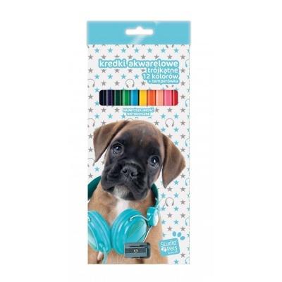 Pastelky s ořezávátkem 12 barev Pes boxer