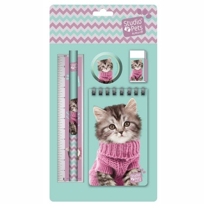 Sada na psaní 5ks kočka ve svetru - blok, tužka, pravítko, ořezávátko a guma