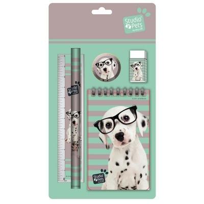 Sada na psaní 5ks Pes s brýlemi - blok, tužka, pravítko, ořezávátko a guma