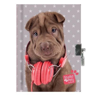 Notes blok památník se zámkem - Pes se sluchátkama