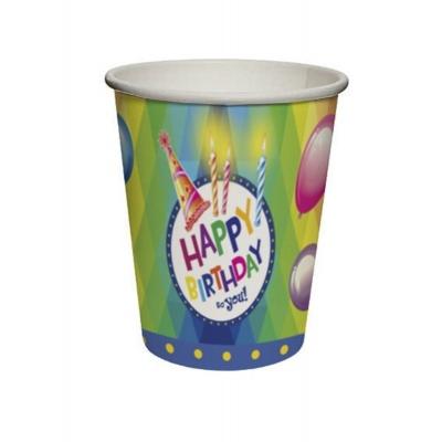 Papírové kelímky - Narozeniny Happy Birthday 8ks