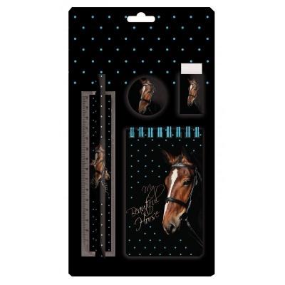 Sada na psaní 5ks kůň - blok, tužka, pravítko, ořezávátko a guma