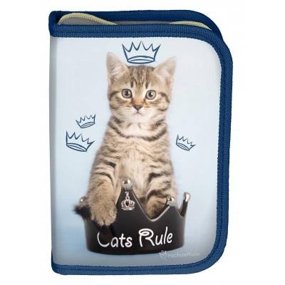 Školní pouzdro penál Kočka s korunkou - s chlopněmi a vybavením
