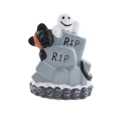 Svíčka Halloween - hroby a kočka