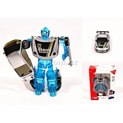 Auto 1:64 - robot transform - stříbrný