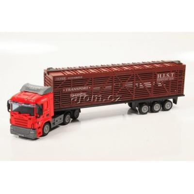 Model nákladního auta Mondo Motors tahač s návěsem klec - 1:65