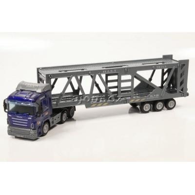 Model nákladního auta Mondo Motors tahač s návěsem přeprava aut - 1:65